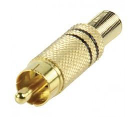 Gold plated phono plug with cable protector black
