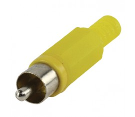 RCA plug with cable protector yellow