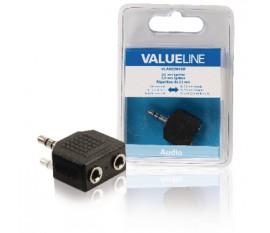 Répartiteur audio de Jack 3,5 mm mâle vers 2x RCA femelles noirs
