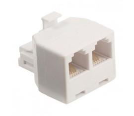 Répartiteur de télécommunication RJ11 mâle – 2x RJ11 femelle blanc