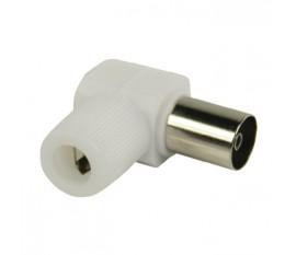 Connecteurs coaxiaux sans soudure coudés à fiche coaxiale femelle blancs 2 pièces