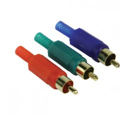 Video connector RCA male red + green + blue