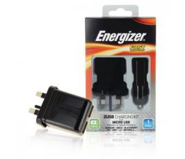 Chargeur 3 en 1 pour appareils Micro USB (fiche britannique)