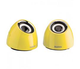Jeu de deux haut-parleurs portables2.0 alimenté par USB 3W jaune
