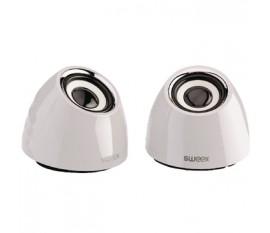 Jeu de deux haut-parleurs portables2.0 alimenté par USB 3W blanc