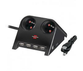 2-Way Desktop-Power-Plus with USB 2.0 hub, black