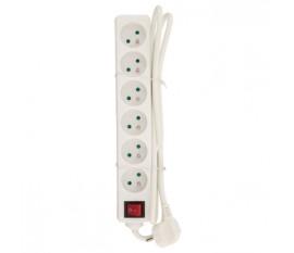 Multiprise 6prises française blanche, 1,50m de câble