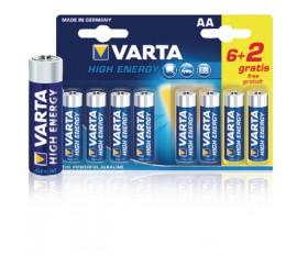 Piles alcalines AA/LR6 1.5 V High Energy 6+2pcs/blister