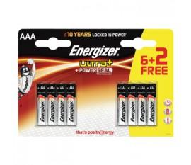 Lot de 6piles alcalines AAA/LR03 Ultra+ 1,5V + 2piles gratuites