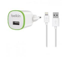 Chargeur secteur 1A blanc et vert avec un câble lightning de 1,20m