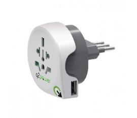 Adaptateur de voyage World-to-Italy USB Earthed
