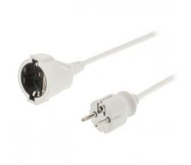 Câble d'alimentation Rallonge 5 m H05VV-F 3G1.5 IP20 Blanc
