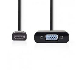 Câble HDMI™ vers VGA   Connecteur HDMI™ - VGA Femelle + sortie 3,5 mm   0,2 m   Noir