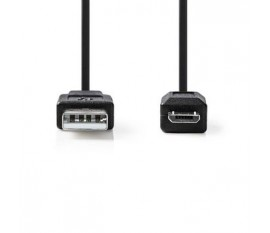 Câble extensible USB 2.0 | A Mâle - Micro B Mâle | 2,0 m | Noir