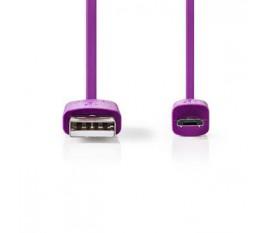 Câble USB 2.0 | A Mâle - Micro B Mâle | 1,0 m | Violet