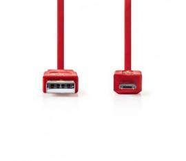 Câble USB 2.0 | A Mâle - Micro B Mâle | 1,0 m | Touche rouge