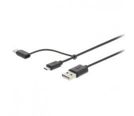 Câble de Synchronisation et de Chargement 2 en 1 | USB A Mâle - USB Micro B / Type-C Mâle | 1,0 m | Noir