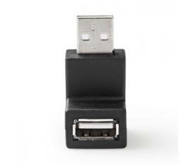Adaptateur USB 2.0 | A Mâle - A Femelle | Angle de 90° | Noir