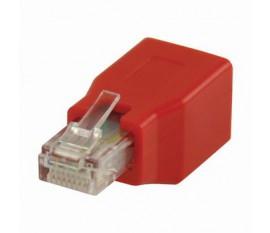 Adaptateur Réseau Croisé Cat 6 | RJ45 Mâle - RJ45 femelle | Touche rouge