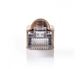 Jeu de Connecteurs Réseau | RJ45 Mâle + Manchon - Pour Câbles Uni Cat 5 UTP | 10 pièces | Gris