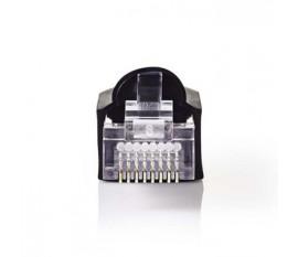 Jeu de Connecteurs Réseau | RJ45 Mâle + Manchon - Pour Câbles Uni Cat 5 UTP | 10 pièces | Noir