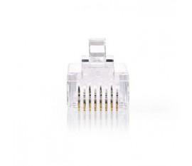 Connecteur Réseau Facile à Utiliser | RJ45 Mâle - Pour Câbles Multibrins Cat 5 UTP | 10 pièces | clair