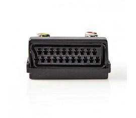 Adaptateur péritel commutable | Péritel Mâle - SCART Femelle + S-Video Femelle + 3x RCA Femelle | Noir