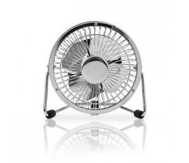Mini Ventilateur en Métal | 10 cm de Diamètre | Alimenté par USB | Chrome