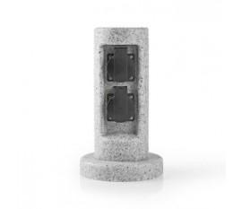 Prise d'extension grise à 2 voies, 2 prises Schuko