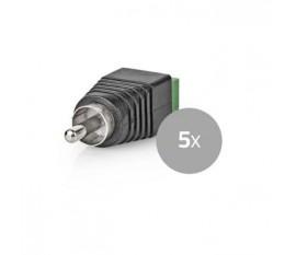 Connecteur de sécurité CCTV | 5x | Câble à 2 Fils vers Connecteur Male RCA