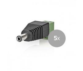 Connecteur de Sécurité CCTV | 5x | Câble à 2 Fils vers Connecteur Female CC | 5,5 x 2,1 mm