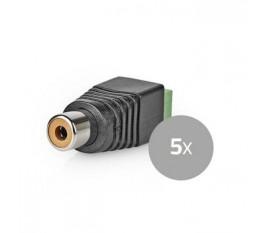 Connecteur de Sécurité CCTV | 5x | Câble à 2 Fils vers Connecteur Female RCA