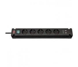 Brennenstuhl Bremounta Extension Socket 5-way 2x USB black 3m H05VV-F 3G1.5