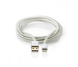 Câble de Charge et de Synchronisation | Apple Lightning Mâle à 8 Broches - USB A Mâle | 2,0 m | Aluminium
