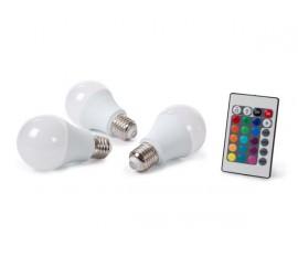 JEU DE 3 LAMPES LED - 7.5 W - E27 - RVB & BLANC CHAUD