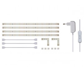 KIT RUBAN À LED FLEXIBLE AVEC ALIMENTATION - BLANC - 4 x 30 cm - 12 VCC