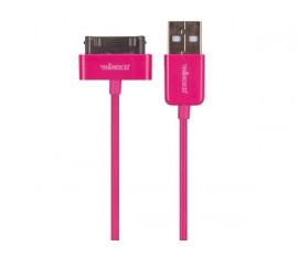 CÂBLE USB A MÂLE VERS APPLE® 30 BROCHES MÂLE - MAGENTA - 1 m