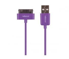 CÂBLE USB A MÂLE VERS APPLE® 30 BROCHES MÂLE - VIOLET - 1 m