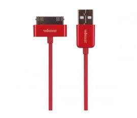 CÂBLE USB A MÂLE VERS APPLE® 30 BROCHES MÂLE - ROUGE - 1 m