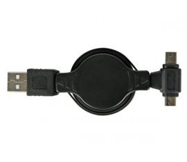 ADAPTATEUR DE RECHARGE USB VERS MICRO USB + MINI USB - RÉTRACTABLE