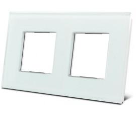 double plaque de recouvrement en verre pour BTicino® LivingLight, blanc