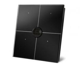 module de commande en finition verre avec touches tactiles quadruples et détecteur de mouvement et de crépuscule intégré, noir