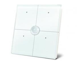 module de commande en finition verre avec touches tactiles quadruples et détecteur de mouvement et de crépuscule intégré, blanc
