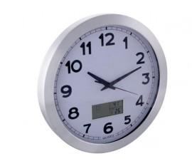 HORLOGE MURALE EN ALUMINIUM AVEC ÉCRAN LCD - THERMOMÈTRE, HYGROMÈTRE ET PRÉVISIONS MÉTÉO - ALUMINIUM - Ø 35 cm