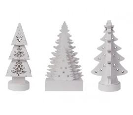 Trio de sapins décoratifs à piles en bois blanc avec LED blanc chaud.